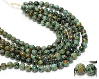 "GU-1571-5 - African Turquoise Round Beads - 12mm - Gemstone Beads - Full 16"" Strand"