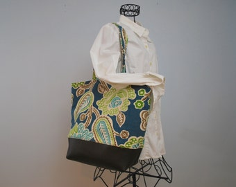 Large Summer Tote with Leather Accents