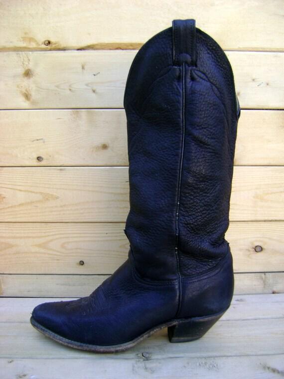 vintage black leather cowboy boots 80s 90s soft patina