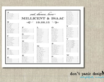 Customized Printable Seating Chart - Elegant Black and White Wedding Seating Chart Poster - Eat Dance Love