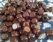 Small Square Wood Beads, Dark Wood Beads, Painted