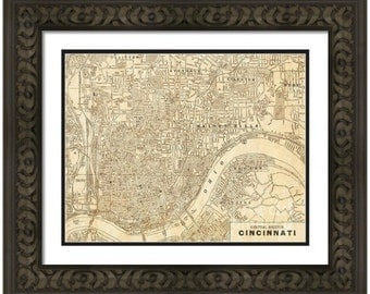 MAP of CINCINNATI Ohio in a Vintage Grunge Weathered Antique style