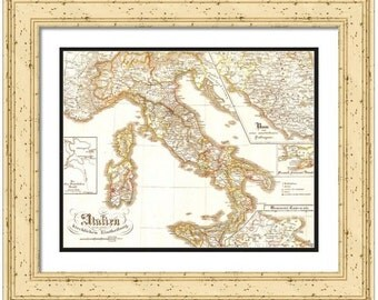 MAP of ITALY in Europe in a Vintage Grunge Weathered Antique style