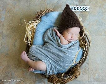 Hand Knitted Baby Chocolate Kiss Hat - Newborn Kiss Hat - Handmade Baby Hat - Newborn hat - Handmade baby hat - Baby elf hat - Gnome hat