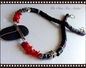 OOAK Pebble Pendant with Red Coral and Black Pearl Statement Necklace
