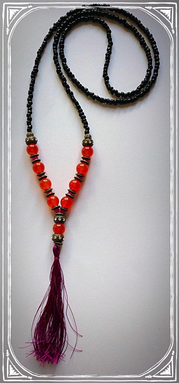 orange topaz cerise statement tassel necklace
