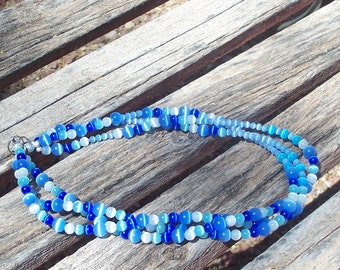 Necklace Blue White Banded Agate Beads Multiple Strands Beach Wedding Something Blue Fashion Three Strand Jewelry