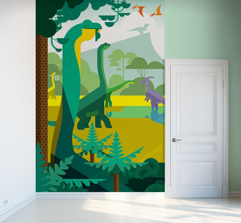 Kids wallpaper mural dinosaurs and jurassic world free for Dinosaur wall mural uk