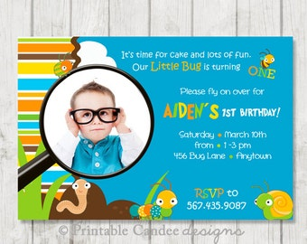 Bug Birthday Invitation - Bug Birthday - Bug Party - Bug 1st Birthday - Printable Bug Birthday - Printable Bug Party Decor - Boy Bug Party