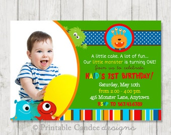 Mod Monster Birthday Invitation - DIY Custom Printable