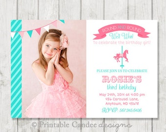 Carousel Birthday Invitation - Pink and Turquoise - Carousel Birthday - Carnival Birthday - Carnival Invitation - DIY Custom Printable