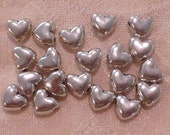 Silver Puffed Heart Beads ~ 8mm x 9mm x 4mm ~ Package of 20
