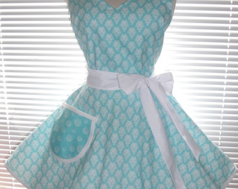 Retro Apron Aqua Blue and White Damask with Circular Flirty Skirt