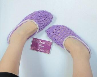Mary Jane Mesh Slippers, Crocheted Slippers, Light Weight Slippers, Crochet Mesh Slippers in Lilac & Cream