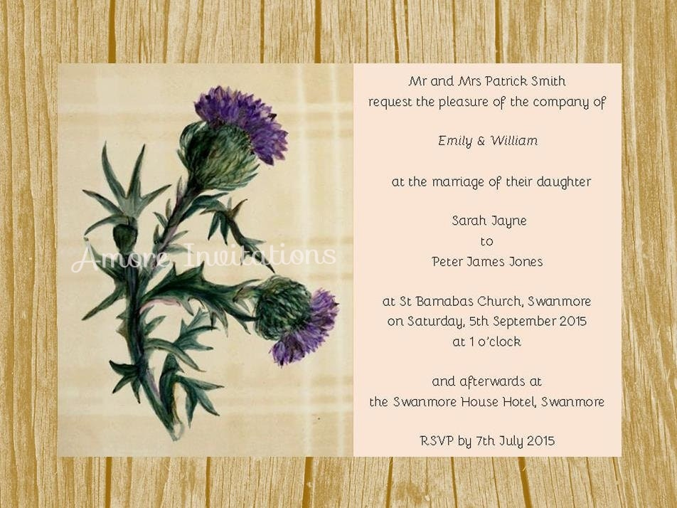 Wedding Invites Scotland: Digital Printable Vintage Scottish Thistle Wedding Invitation