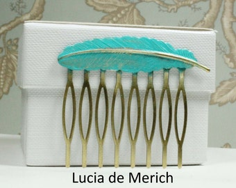 Feather Hair Comb Brass  Feather Hair Comb Woodland Hair Accessory Wedding Bridal Hair Comb Feather Jewelry