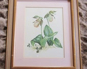 Vintage Watercolor Floral 1950s Retro Original Watercolor Painting Professionally Framed Retro Wood Frame Botanical Watercolor