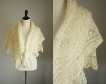 vintage mohair shawl | 1950s ivory wrap