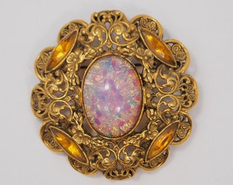 "Vintage Rhinestone Brooch / Pin - Amber & Opal Rhinestones - Game of Thrones Styling - Floral Filigree Frame - 2 1/8"""