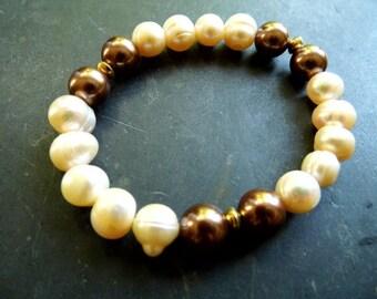 Pearl bracelet, Pearl, white Brown, bride, wedding, pearls, freshwater pearls,