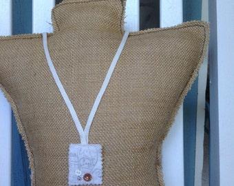 vinatge salt sack necklace, shabby chic necklace