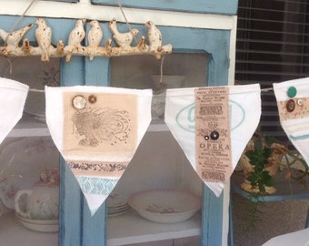 Old world flour sack with tea dyed fabric banner, shabby chic banners, tea party banners