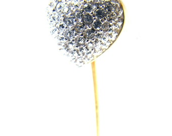 Vintage Stick Pin Sterling Vermeil CZ Encrusted Heart Gold Wash Over Silver
