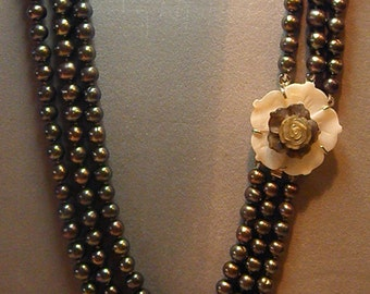 Natural cultured freshwater black 3 strand pearl necklace with Mother of Pearl clasp