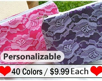 lace clutch Bridesmaid gift personalized bridesmaid gift makeup bag cosmetic bag, bridesmaid gifts bridal shower favors, bridal shower gifts