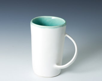 """30% off 5"""" Mug / Stoneware Cup in White Matte and Turquoise Gloss Handmade Ceramic Pottery Cup / Modern - Handmade Mug - ready to ship"""