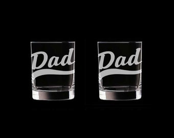 Dad  Set of 2 Double Old Fashioned Glasses Personalized Customized Father's Day whiskey whisky scotch
