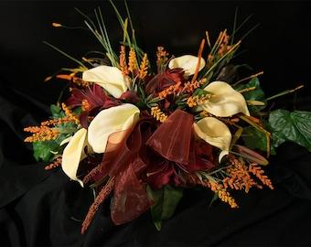 Wedding Table Arrangement Bride & Groom Fall Orange Red