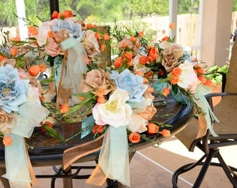 Wedding Table Centerpieces in Ivory Blue Orange set of 8 and may be used as Bouquets