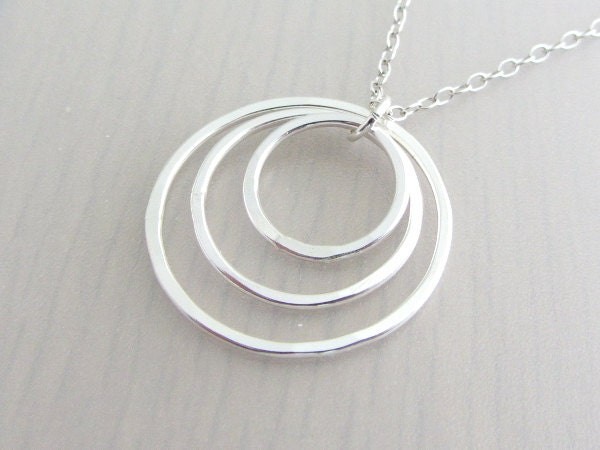 sterling silver three circle necklace three ring necklace