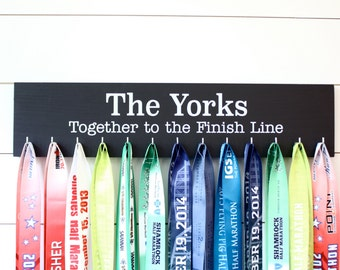Running / Triathlon / Obstacle Race Medal Holder - Personalize - Together to the Finish Line - Couple or Family - Wedding Gift - Large