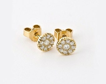 Diamonds Earrings, Small Diamonds Studs Earrings, Wedding Earring, 18k Yellow Gold Women's Small Bridal Earring, Diamonds Post