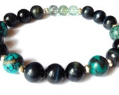 healing transition. blue tiger eye turquoise aquamarine gemstone bracelet