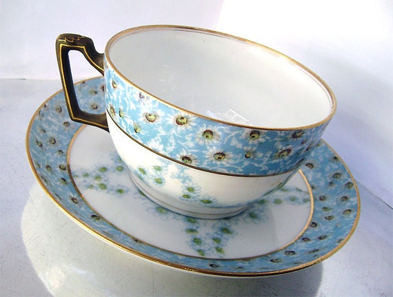 antique french limoges t v tea cup and saucer white blue. Black Bedroom Furniture Sets. Home Design Ideas