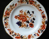 "Enoch Wedgwood ""Old Derby"" Windermere Orange & Blue 7"" Porcelain Dessert/Pie Plate"