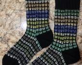 Mosaic Window Pane Patterned Hand Knit Wool Socks Opal and Regia Yarns (S-172)