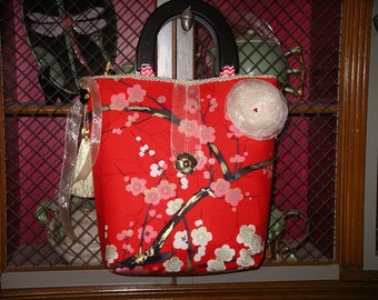 Red Cherry Blossoms Handbag