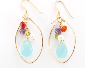 Colorful Gold Hoop Gemstone Earrings Amethyst Carnelian Peridot Pearl Quartz Statement Dangle Minimalist
