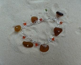 Brown sea glass bracelet with Swarovski crystal beads