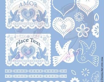Papel Picado Banners White Wedding Invitations Digital Graphics Birds Hearts Flowers Clipart Cinco de Mayo Clip Art Design 10578