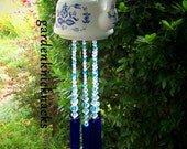 Blue and white Floral Teapot wind chime