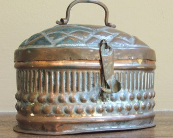 Vintage Metal Basket with attached lid