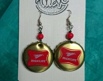 Miller High Life Bottle Cap Earrings