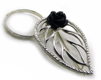 "Beautiful glasses brooch ""Leaf"", 925 Sterling Silver, Original wearing glasses, Nature style"