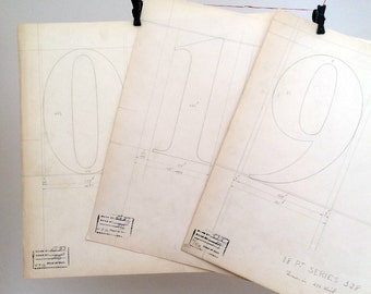 Collection of 10 numbers, 0-9 industrial drawing, original font casting drawing: Series 328. 1932.