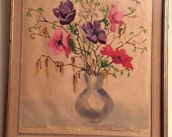E. Meinshausen-Felsing Watercolor painting on paper German painter
